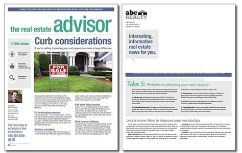 Real Estate Advisor Newsletter Template Volume 4 Issue 6 Real Estate Newsletter Templates Free