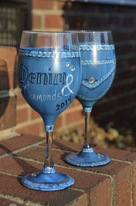 Denim & Diamonds Gala Wine glass creation https://www