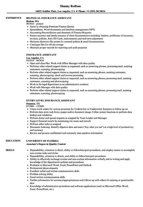 insurance assistant sle resume insurance assistant resume sles velvet