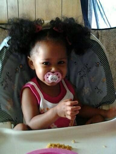 ponytails for biracial children beautiful baby girl with two curly ponytails kiddos
