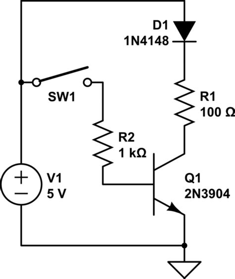 resistor in series with bjt if i connect a cut bjt and a diode in series which circuit element will see a voltage drop