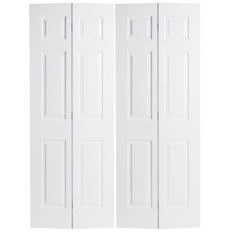 Shop Reliabilt No Frame 6 Panel Hollow Core Textured 6 Panel Bifold Closet Doors