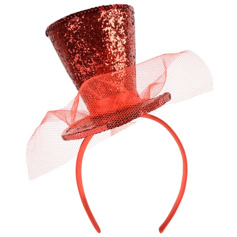 novelty mini red glitter christmas top hat on headband