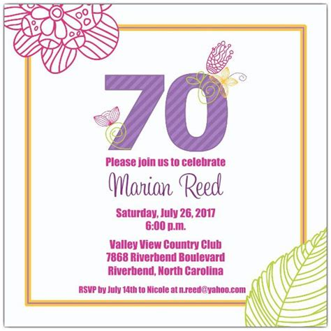 70th birthday invitation cards templates 15 70th birthday invitations design and theme ideas