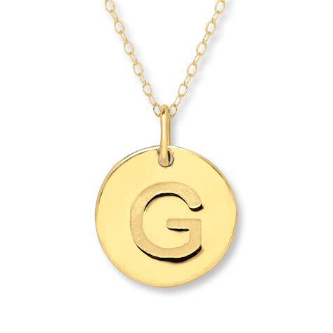 initial quot g quot necklace 14k yellow gold