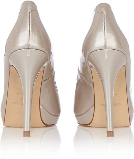 Shoes Of The Day Miss Beige Patent Peep Toe Pumps by Millen Leather Patent Peep Toe Heel In Beige