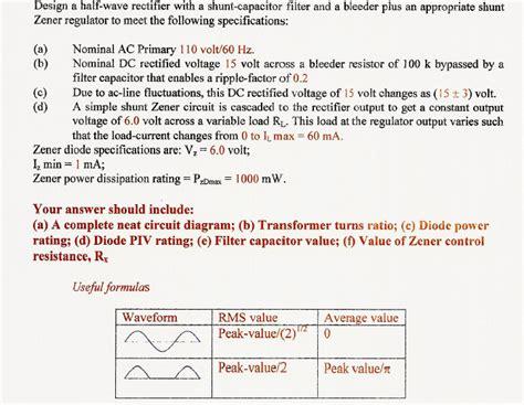 shunt capacitor filter in half wave rectifier design a half wave rectifier with a shunt capacito chegg