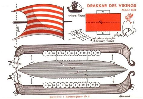 Viking Papercraft - free printable viking ship vintage papercraft free