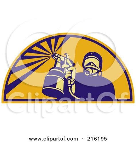spray painter logo clipart of a painter using a spray gun in a