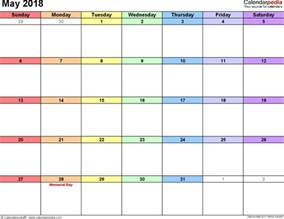 Calendar 2018 Pdf In May 2018 Calendars For Word Excel Pdf
