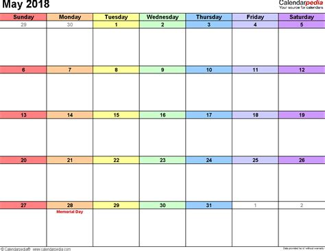 may calendar template may 2018 calendar template monthly printable calendar