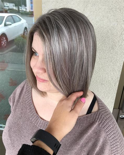 black natural gray hair help added some grey highlights to help blend her natural grey