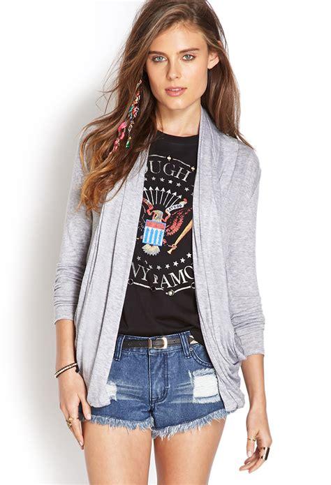 grey draped cardigan forever 21 sleek draped cardigan in gray heather grey lyst