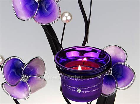 kerzenhalter lila deko teelichthalter blume 38cm lila kerzenhalter metall