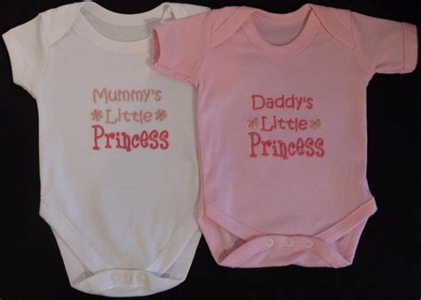 Daddy s little princess baby vest grow clothes girl funny gift white pink ebay