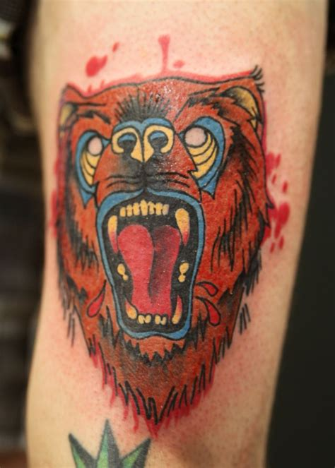 traditional bear tattoo traditional by black apple studios www