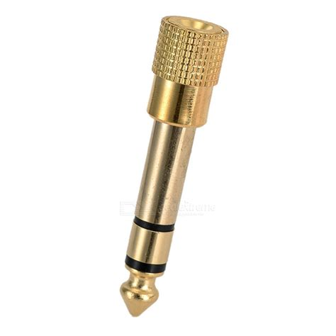 Converter 35mm To 65mm Gold Plated gold plated 6 35mm to 3 5mm mic convertor golden free shipping dealextreme