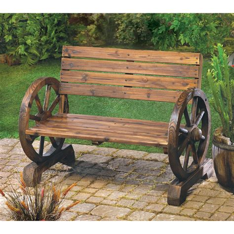 rustic wood design home garden wagon wheel bench decor ebay