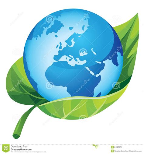 Earth with green leaf stock vector. Image of blue ...