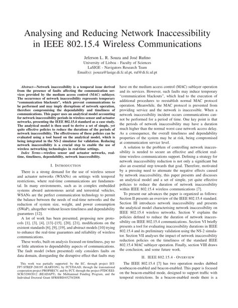ieee research paper on wireless communication analysing and reducing network pdf available