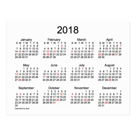 2018 mini calendar by janz postcard zazzle ca