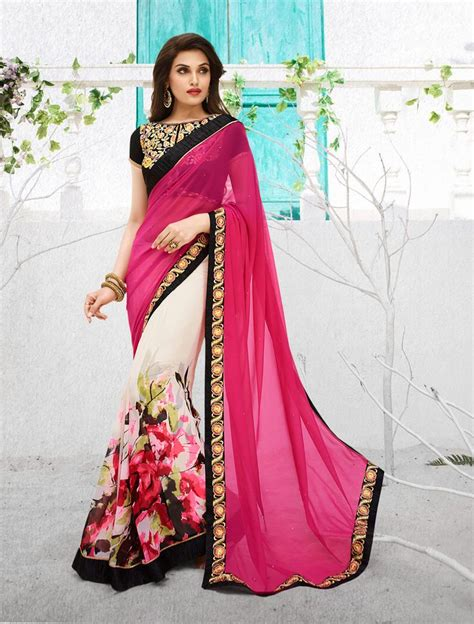 Pink Saree baby pink blouse blouse with
