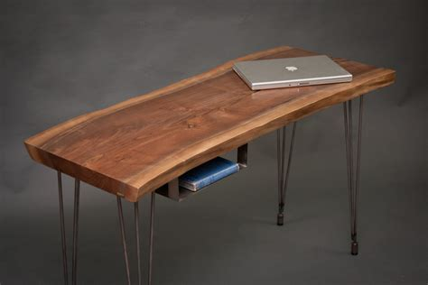 your custom modern live edge black walnut desk