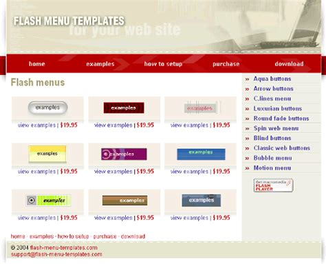 Flash Menu Templates free flash animated buttons freedownload free software