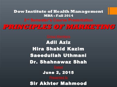 Mba Health Management Dow by Panadol Ppt