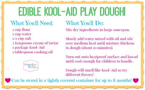 printable playdough recipes give the gift of a sensory activity wonderbaby org