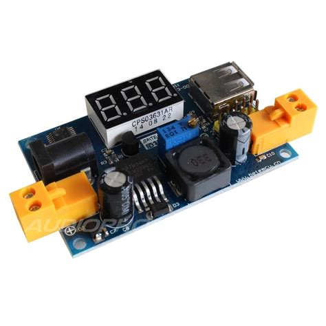 Lm2596 Adjustable Step Power Module Led Voltmeter 1 step adjustable power supply module lm2596 with led voltmeter audiophonics