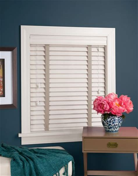 White faux wood EverWood blind with decorative tapes