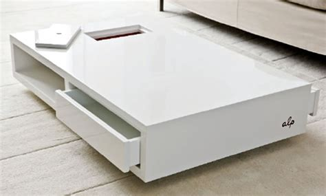 large low white coffee table with storage coffee tables