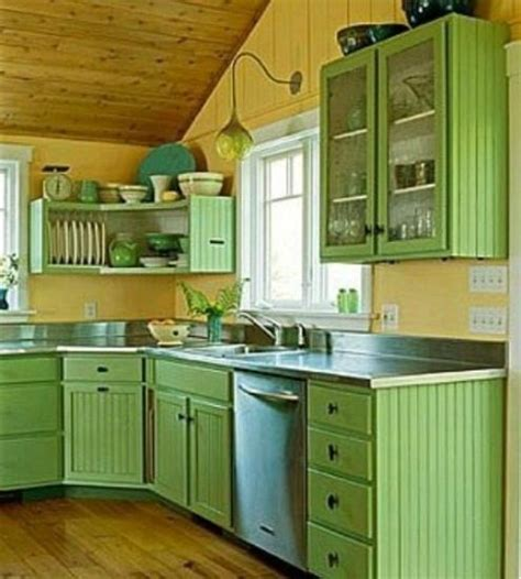 Light Green Kitchen Cabinets Small Kitchen Designs In Yellow And Green Colors