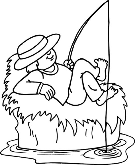 fishing pole coloring page clipart best
