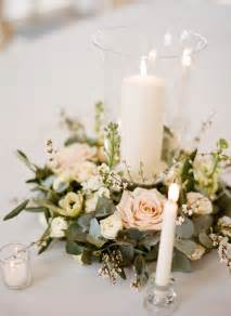 candle arrangements for table blush wreath candle centerpiece wedding ideas