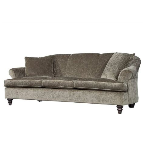 Custom Rolled Back Sofa In Grey Chenille For Sale At 1stdibs Grey Chenille Sofa