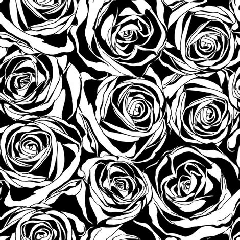 black and white rose pattern abstract rose patern fabric ka lou spoonflower