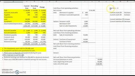 statement of cash flows free excel template