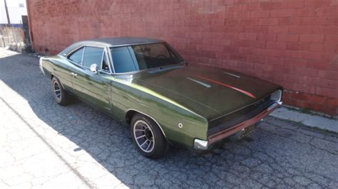 dodge charger coupe 1968 green for sale xs29l8b403693 1968 dodge charger r t original ca car