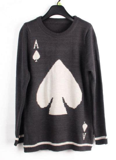 grey jumper patterned sleeves grey long sleeve a spades pattern sweater on luulla
