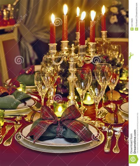 christmas themed dinner table royalty  stock photo image