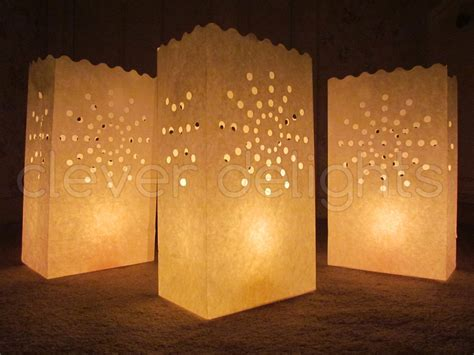 20 luminary bags white sunburst design wedding