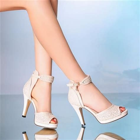 Strappy Ivory Bridal Shoes by Details About 10 Cm Heel Ivory Wedding Shoes Ankle