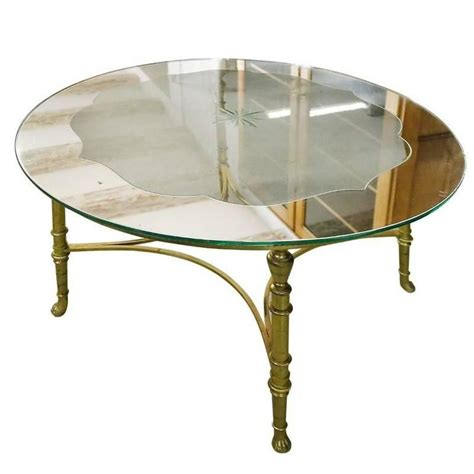 Etched Glass Coffee Table Brass Coffee Table With Etched Glass Top For Sale At 1stdibs