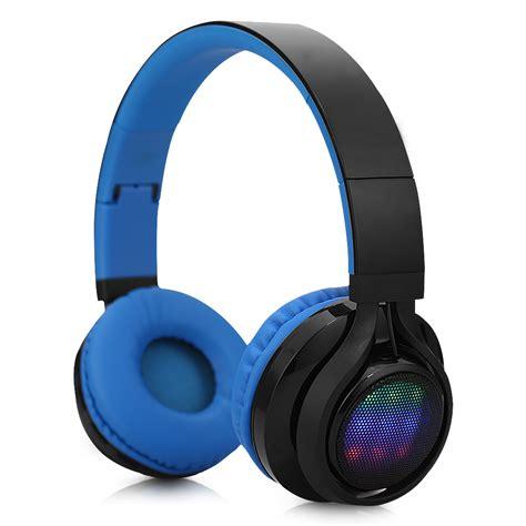 Headset Bluetooth Gblue ear wireless bluetooth folding led stereo headphones headset earphone blue ebay