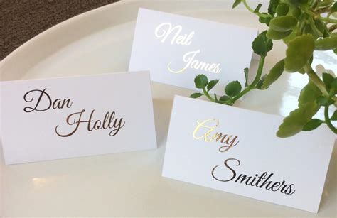 wedding place cards with names printed uk wedding name cards place cards gold foil personalised