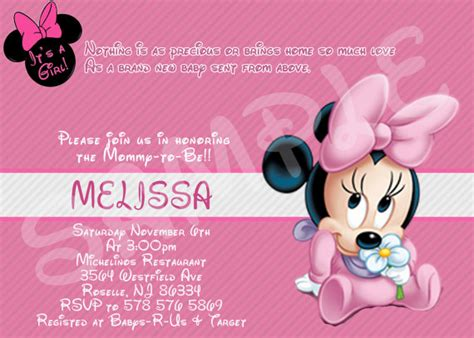 minnie mouse baby shower invitation by eqpartyinvitations