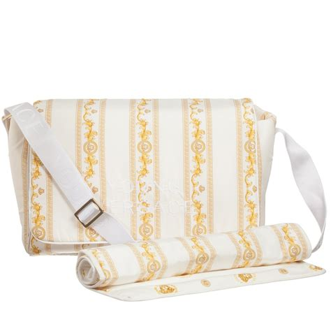 Versace Gold And Multi Colored Print Bag by Versace Baby Gold Cornici Print Changing Bag