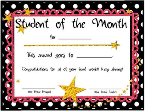teacher of the month certificate template4 best and various